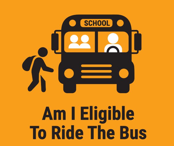 Am I Eligible to Ride The Bus? Illustration of child with backpack about to board school bus.