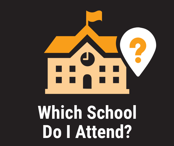 Which School Do I Attend? Illustration of school building with map pin with question mark.